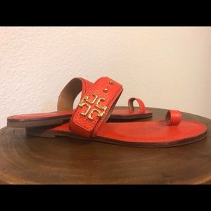 Tory Burch Orange flat sandals size 10